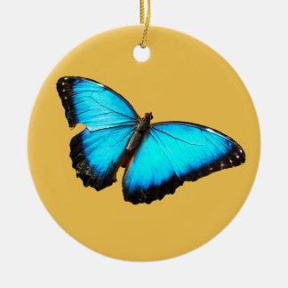 Mariposa azul brillante adorno redondo de cerámica