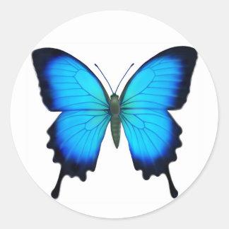 Mariposa azul de Papilio Ulises Pegatina Redonda