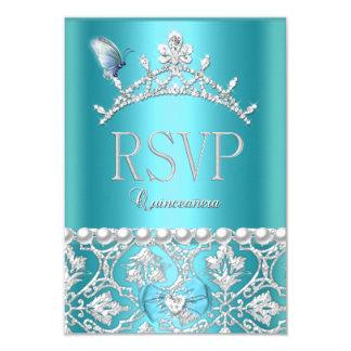 Mariposa azul del damasco de Quinceanera de la Invitación 8,9 X 12,7 Cm