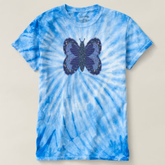 Mariposa azul del remiendo camiseta