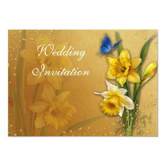 Mariposa azul en tarjeta de la invitación de los