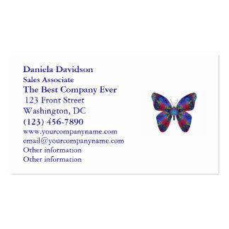 Mariposa azul y roja de la fantasía de la mandala tarjetas de visita