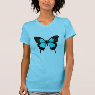 Mariposa - azules turquesas y negro camiseta