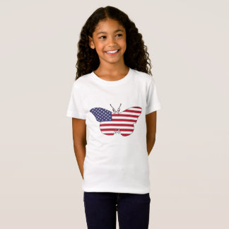 "Mariposa ""bandera americana "" camiseta"