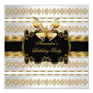 Mariposa blanca de la raya de la joya del negro invitación 13,3 cm x 13,3cm