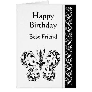 Mariposa blanca negra clásica del cumpleaños del m tarjeta de felicitación