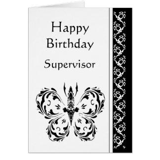 Mariposa blanca negra clásica del cumpleaños del s tarjetas