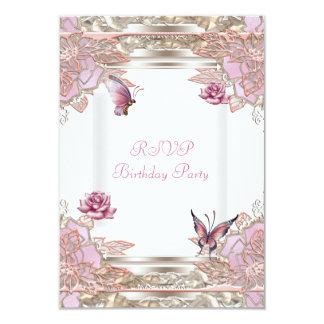 Mariposa blanca subió rosa del fiesta de la invitación 8,9 x 12,7 cm