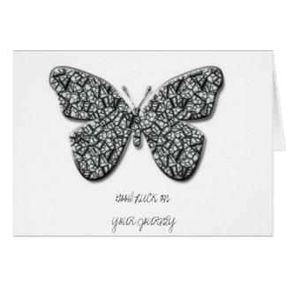 Mariposa blanco y negro elegante tarjeta de felicitación
