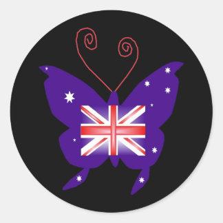 Mariposa británica de la diva pegatina redonda