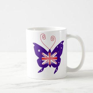 Mariposa británica de la diva taza básica blanca