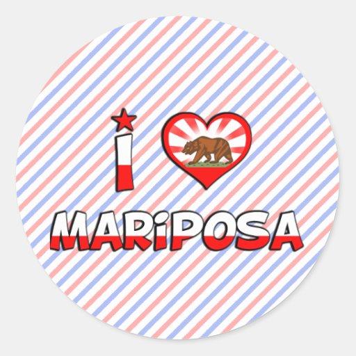 Mariposa, CA Etiqueta Redonda