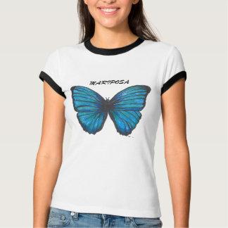 Mariposa, camiseta azul de la mariposa
