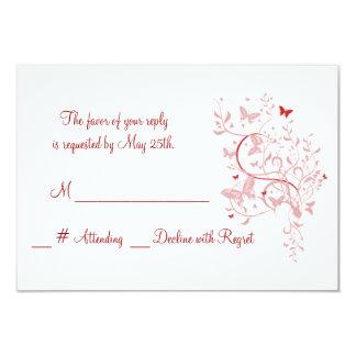 Mariposa color de rosa que casa la tarjeta de RSVP Invitación 8,9 X 12,7 Cm