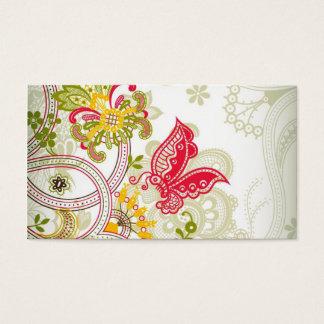 Mariposa colorida roja abstracta del cordón tarjeta de negocios