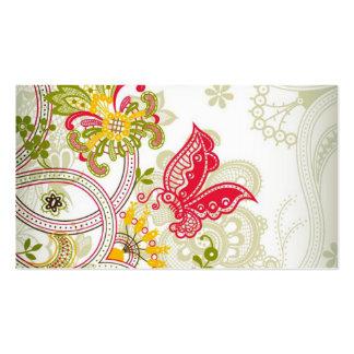 Mariposa colorida roja abstracta del cordón tarjetas de visita