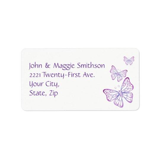 Mariposa con clase rosada de color de malva etiquetas de dirección