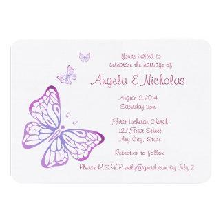 Mariposa con clase rosada de color de malva invitación 11,4 x 15,8 cm