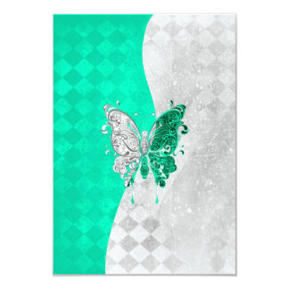 Mariposa de dos tonos en blanco y trullo invitación 8,9 x 12,7 cm