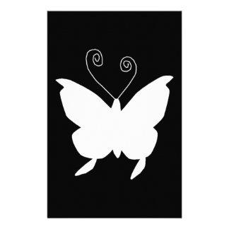 Mariposa de la diva en blanco  papeleria de diseño