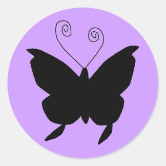 Mariposa de la diva pegatina redonda