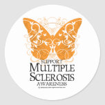Mariposa de la esclerosis múltiple pegatina redonda