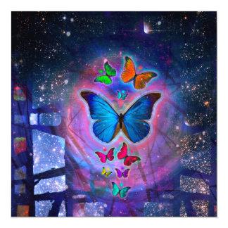 Mariposa de la fantasía invitación 13,3 cm x 13,3cm