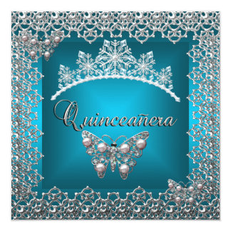 Mariposa de la tiara de la plata del trullo del invitación 13,3 cm x 13,3cm