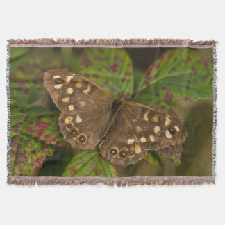 Mariposa de madera manchada manta tejida
