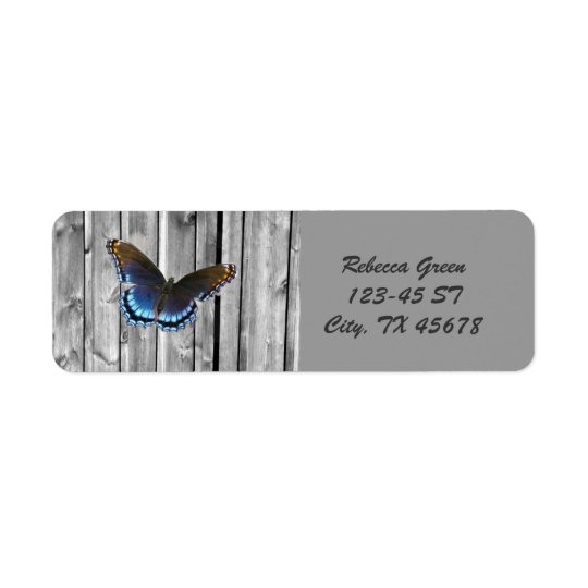Mariposa de madera resistida apenada del azul del etiqueta de remite