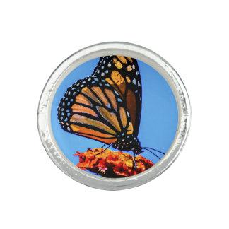 Mariposa de monarca - anillos con foto