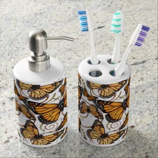 Mariposa de monarca conjunto de baño