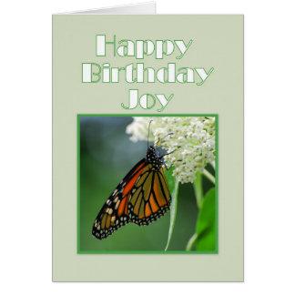 Mariposa de monarca de la alegría del feliz cumple felicitaciones