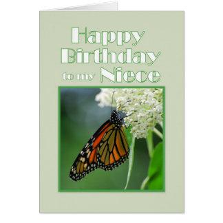 Mariposa de monarca de la sobrina del feliz cumple felicitacion