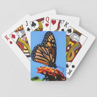 Mariposa de monarca en la flor del Lantana Baraja De Cartas