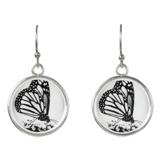 Mariposa de monarca, negro y blanco - pendientes