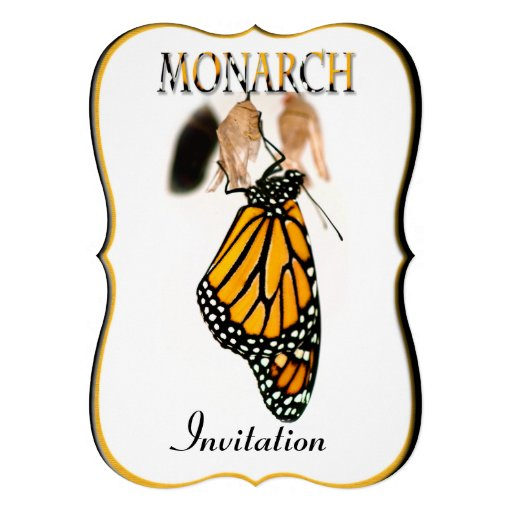 Mariposa de monarca recién nacida con el capullo - invitacion personalizada