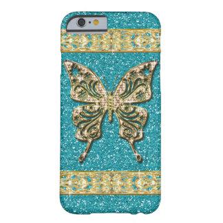 Mariposa de oro del brillo azul de la aguamarina funda de iPhone 6 barely there