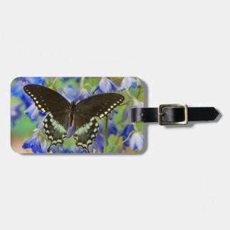 Mariposa de Swallowtail en azul Etiquetas Para Maletas