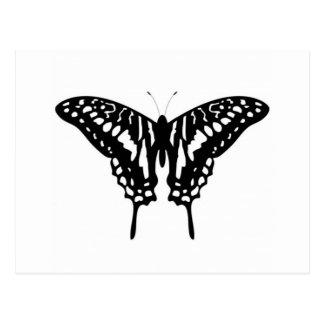 Mariposa decorativa negra postal