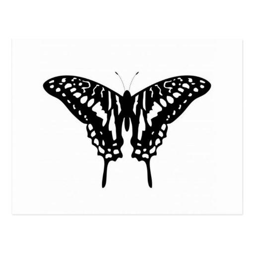 Mariposa decorativa negra tarjetas postales