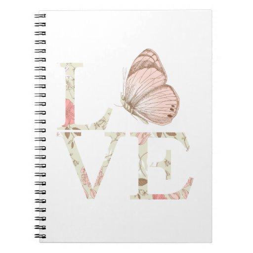 Mariposa del amor floral libreta espiral