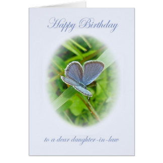Mariposa del azul del cumpleaños de la nuera tarjeta de felicitación