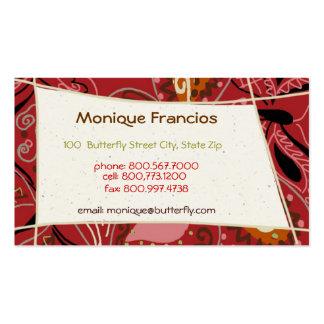 Mariposa del baile en tarjeta de visita roja
