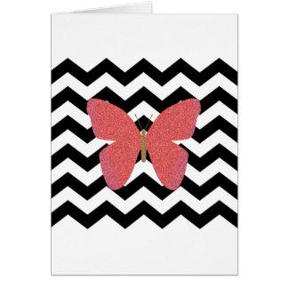 Mariposa del brillo con el galón blanco y negro tarjeta de felicitación