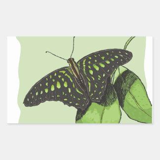 Mariposa del camuflaje de la naturaleza pegatina rectangular
