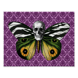 Mariposa del cráneo póster