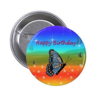 Mariposa del feliz cumpleaños chapa redonda de 5 cm