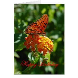 Mariposa del Fritillary del golfo del feliz cumple Tarjeton