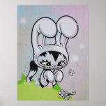 Mariposa del gatito del conejito poster